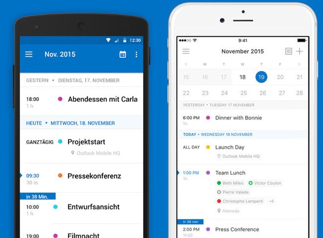Microsoft Outlook for Mobilke: links Android, rechts iOS