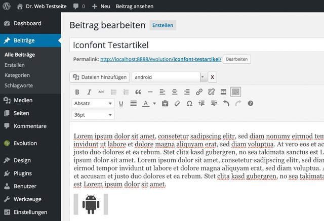 Icons im Texteditor