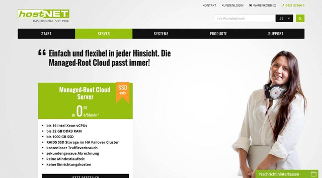 Managed-Root-Cloud Server von hostNET
