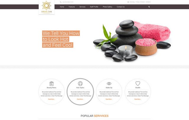 spa salon page