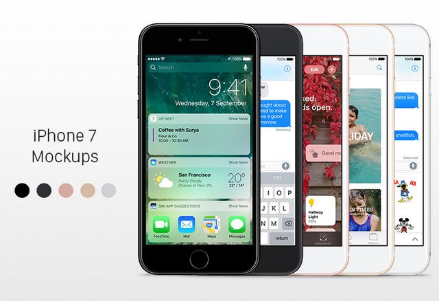 iphone7 mockups in all colors
