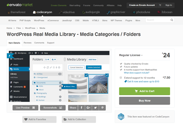 WordPress Real Media Library auf Codecanyon