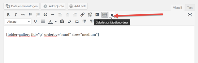 WordPress Real Media Library klinkt sich in den visuellen Editor ein