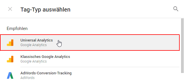 Google Tag Manager: Tag-Typ auswählen
