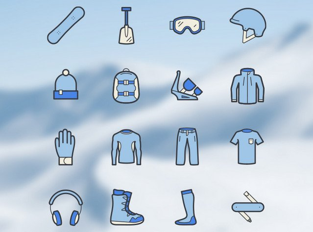 snowboard-icon-set