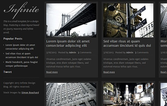 Infinite – A Design Blog Template HTML/CSS