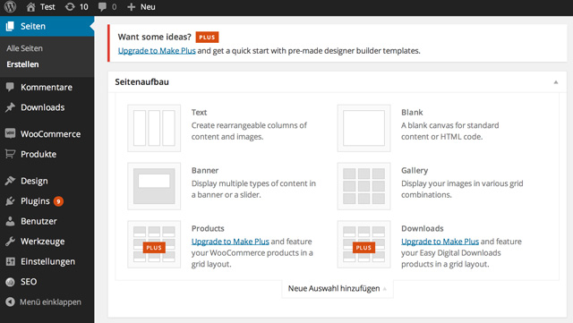 Der Drag and Drop Page Builder des Make Themes für WordPress