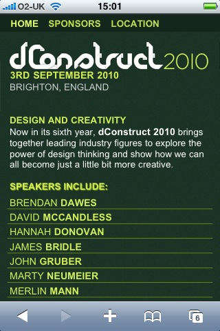 dconstruct website on the iPhone