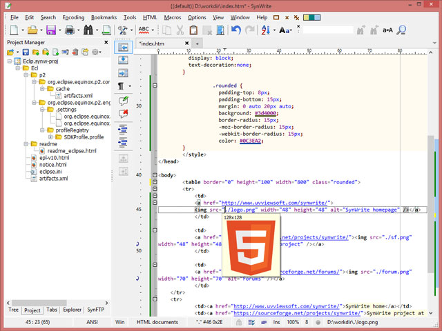 SynWrite HTML-Editor für Windows