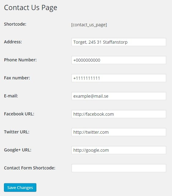 Contact us page Plugin