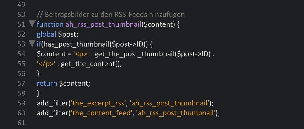 Beitragsbilder in die RSS-Feed bringen