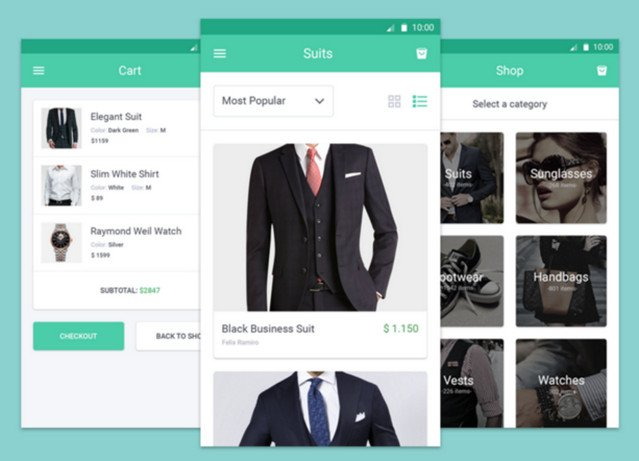 ecommerce mobile screens