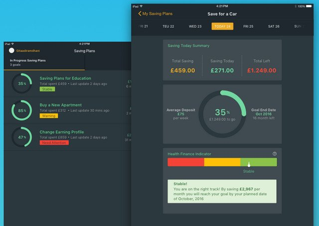 financial service dashboard