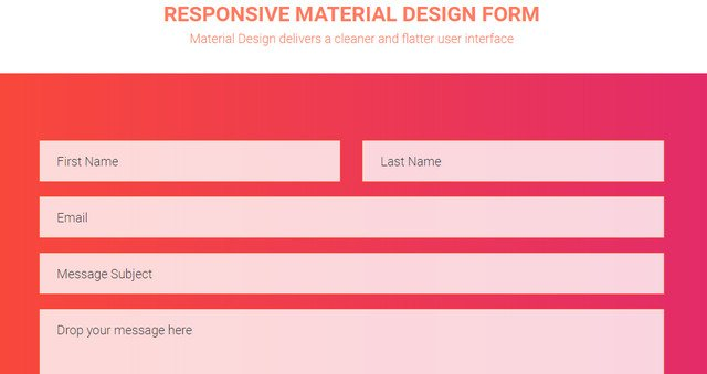 responsive material design form