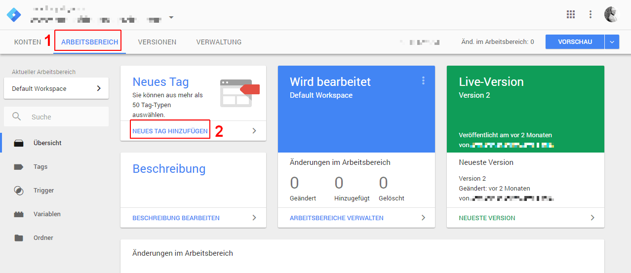 Google Tag Manager: Neues Tag anlegen