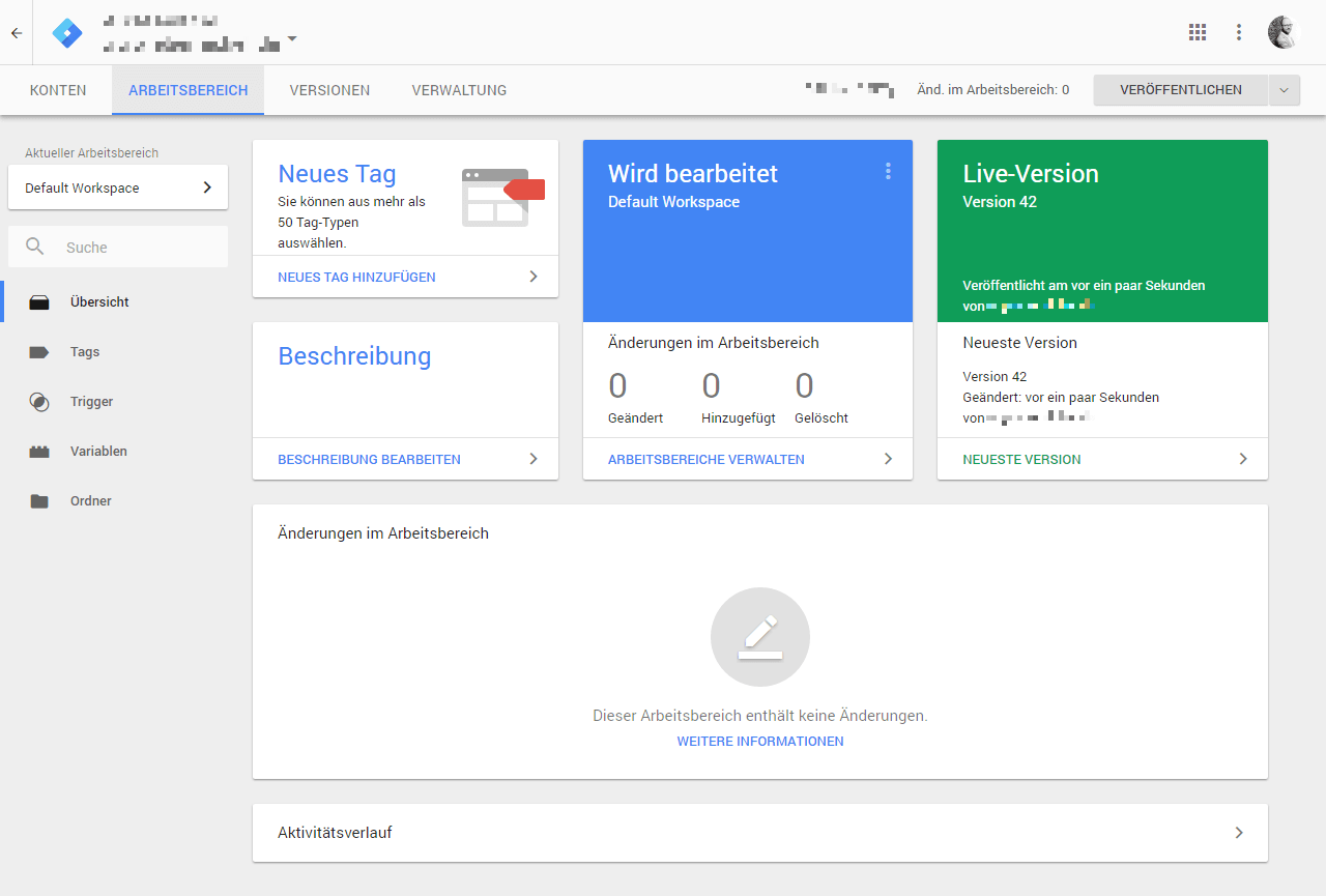 Google Tag Manager: Administrationsoberfläche