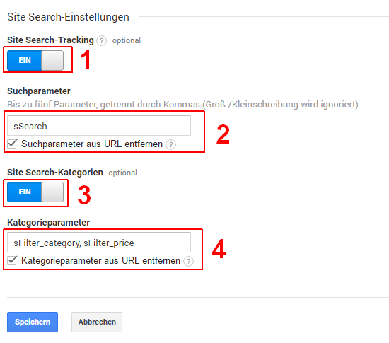 Google Analytics: Site Search-Tracking einrichten, Schritt 2