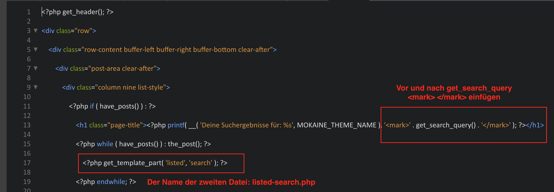 Die search.php bearbeiten