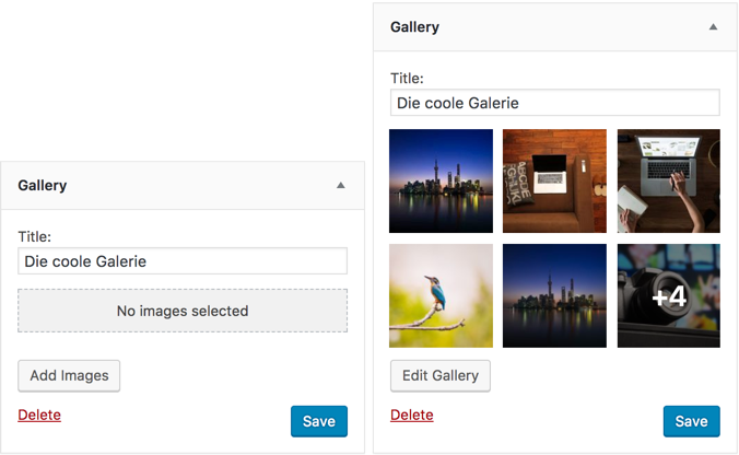 Das neue Galerie Widget in WordPress 4.9