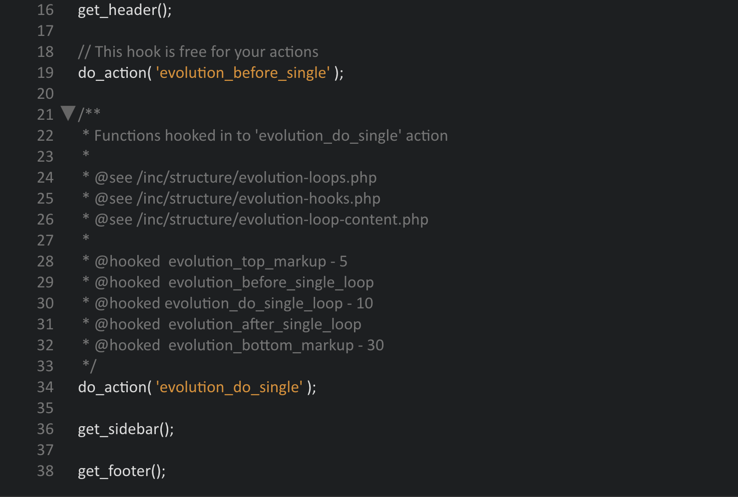 Screenshot der single.php des Evolution WordPress Framework