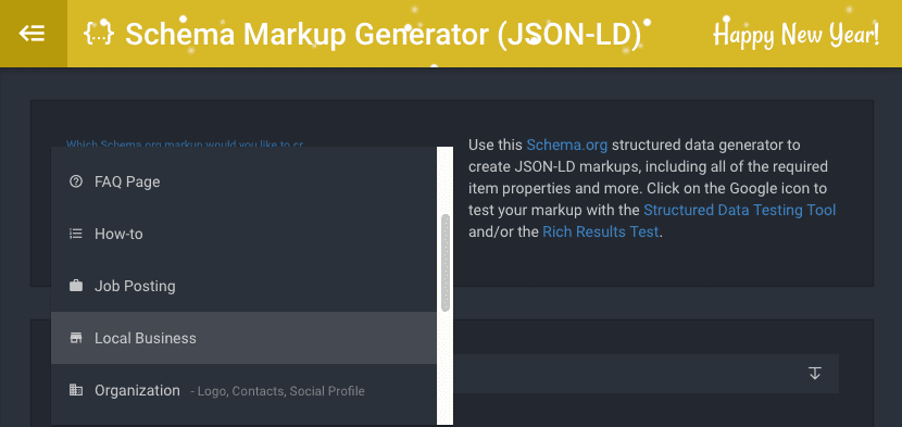 Screenshot des Schema-Markup-Generators.