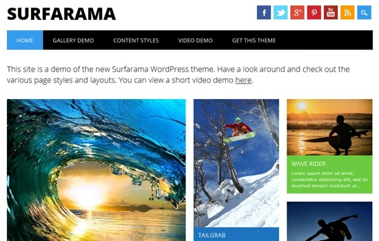 Surfarama: dynamic layout flat theme