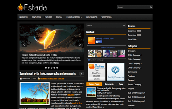 Estada: Blogging Theme