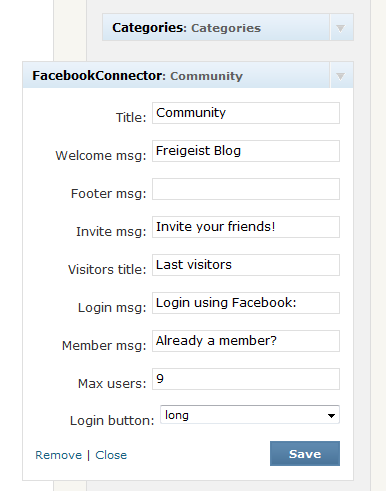 Facebook Connect Widget in die Sidebar integrieren
