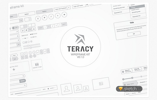 Teracy Wireframe UI Kit for Sketch