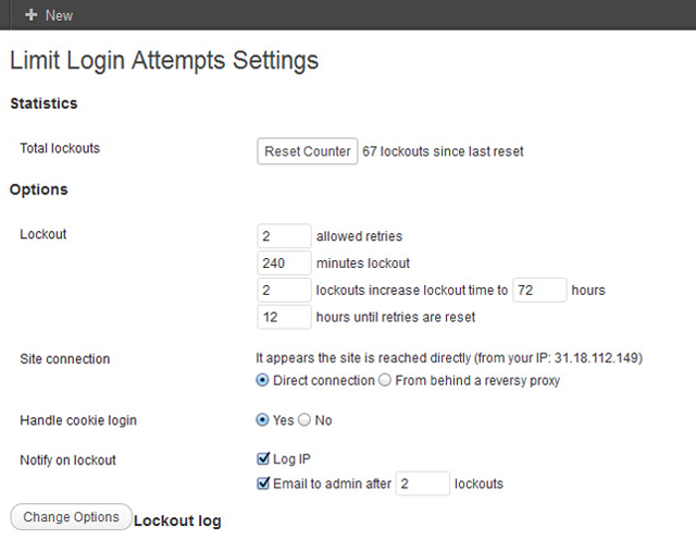 Die Einstellungen des Limit Login Attempts Plugins