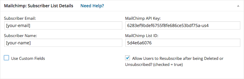 Einstellungen Contact Form 7 for MailChimp Extension