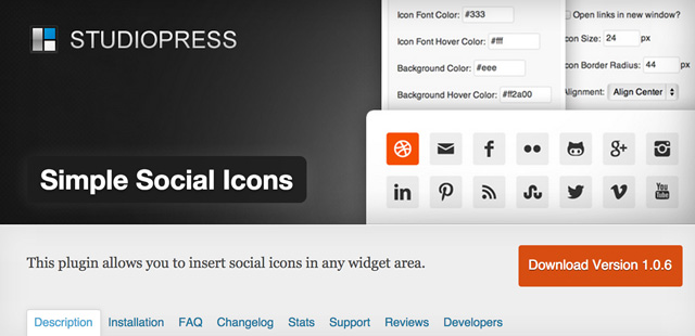 Das Simple Social Icons Widget Plugin für WordPress