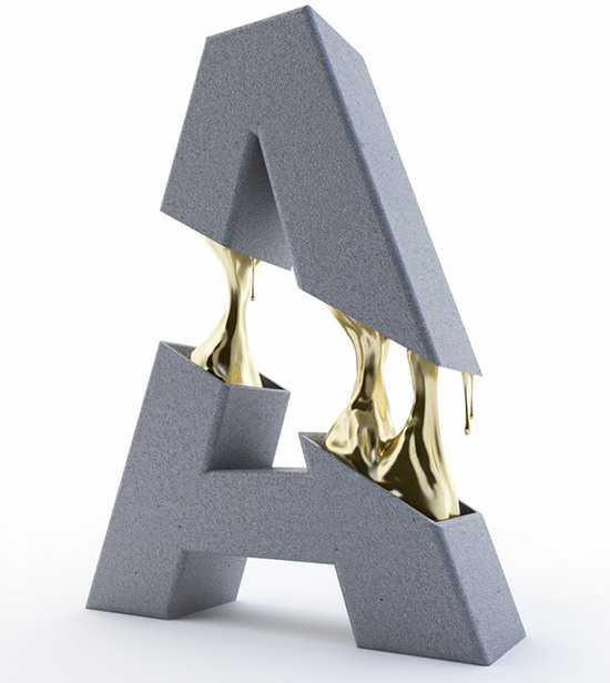 typeface with gold filing
